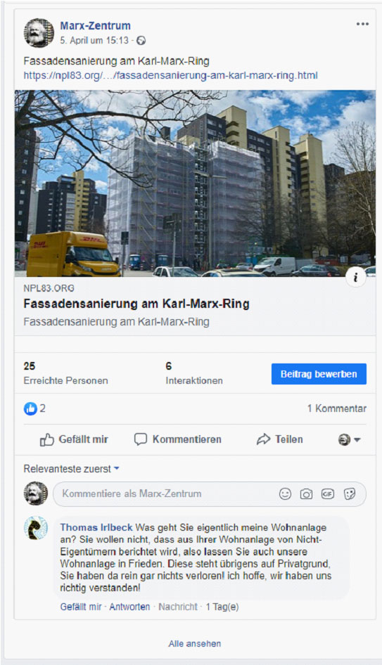 Audstockung am OMG-Ring in Karl-Marx-Ring