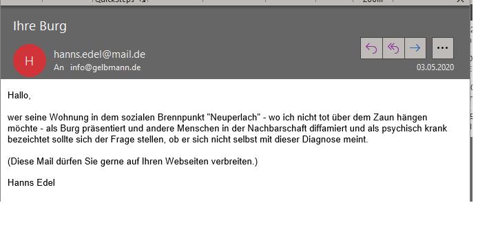 Hetz-Mail von Irlbeck alias Hanns Edlel gegen Neuperlach und gegen mich.