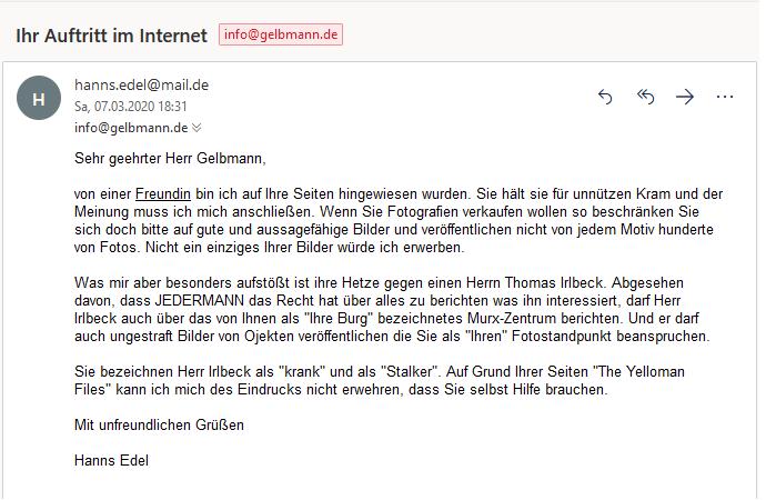 Hetz-Mail von Irlbeck alias Hanns Edlel gegen mich.