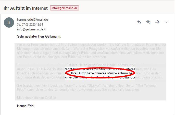 Stalkermail von Irlbeck alias Hanns Edel