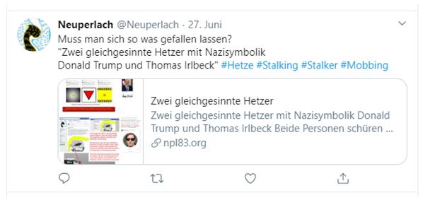 Hetze von Irlbeck gegen mich mit Trumpvergleich