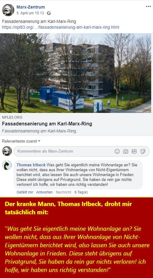 Mein Facbookpost und Drohnungen von Irlbeck gegen mich