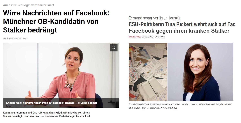 Stalker belästigen Kristina Frank und Tiana Pickert
